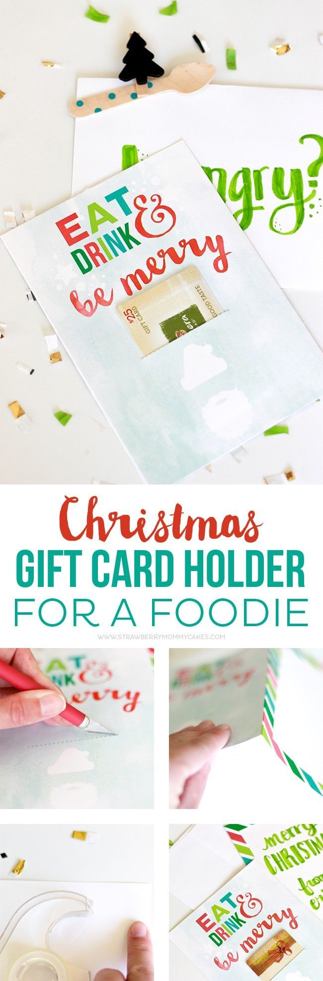 How to Make a Christmas Gift Card Holder for a Foodie | Printables ...