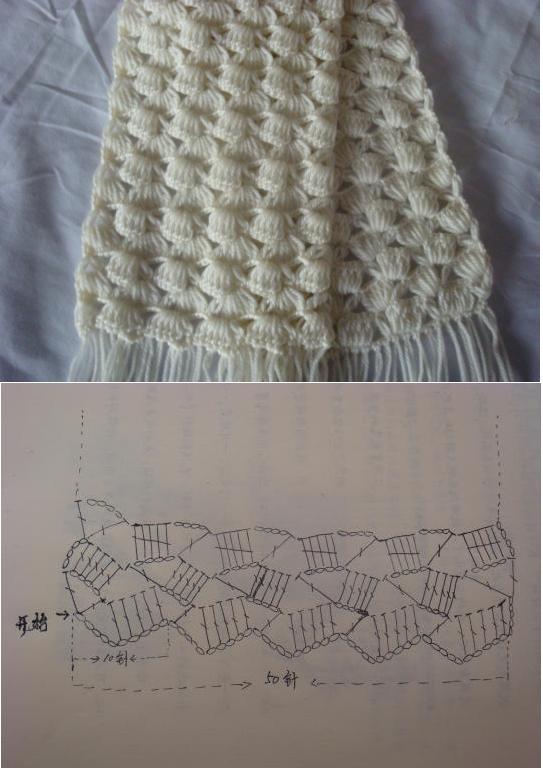 Crochet white scarf ♥LCP-MRS♥ with diagram----Patrones Crochet: Patron Crochet Bufanda