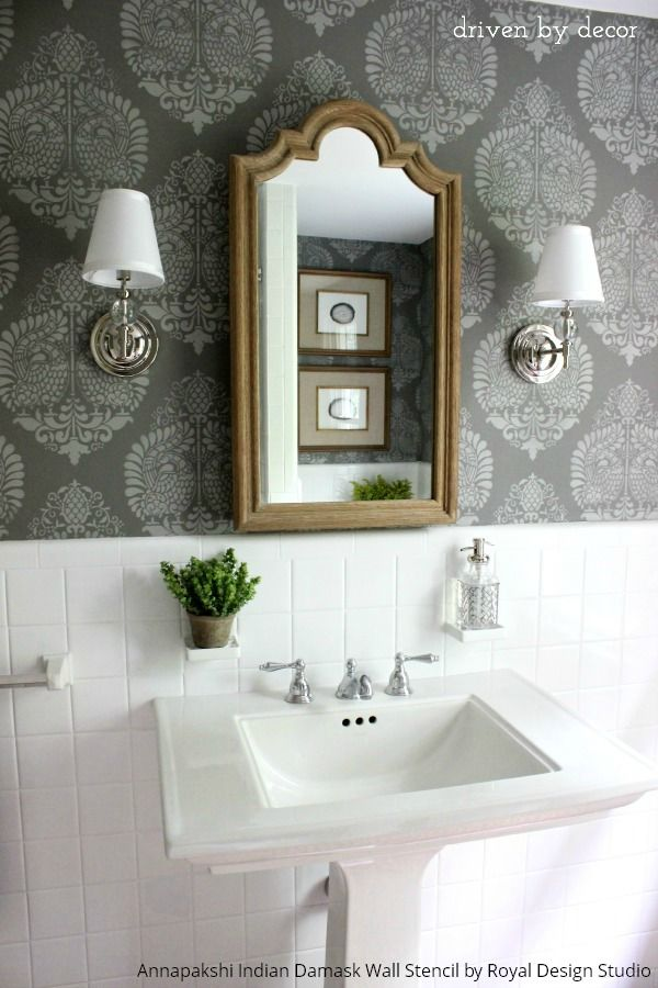 Indian Bathroom Design Simple Annapakshi Indian Damask Wall Stencil  Wall Stenciling Design Ideas