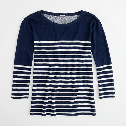 Again, J Crew...pretty much the perfect oh-so-popular striped 3/4-sleeve tee...for $35!  My white jeans want this...