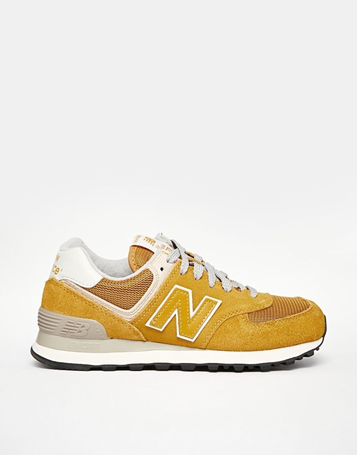 New Balance 574 Yellow Mustard Suede/Mesh Trainers ...