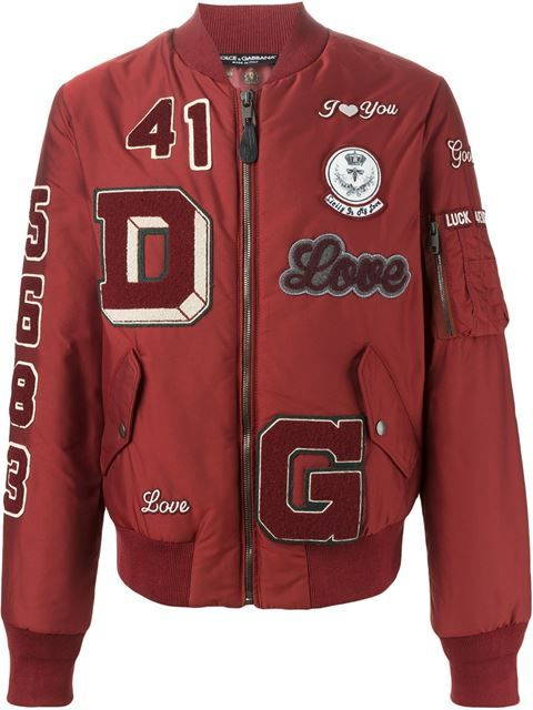 4683abcc335719 Shop Dolce   Gabbana patch detail bomber jacket   PATCH I T PIN I T ...