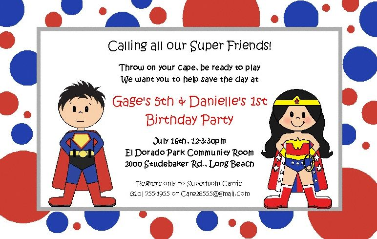 Superhero Boy and Girl Invitations Twins Birthday Party Twin