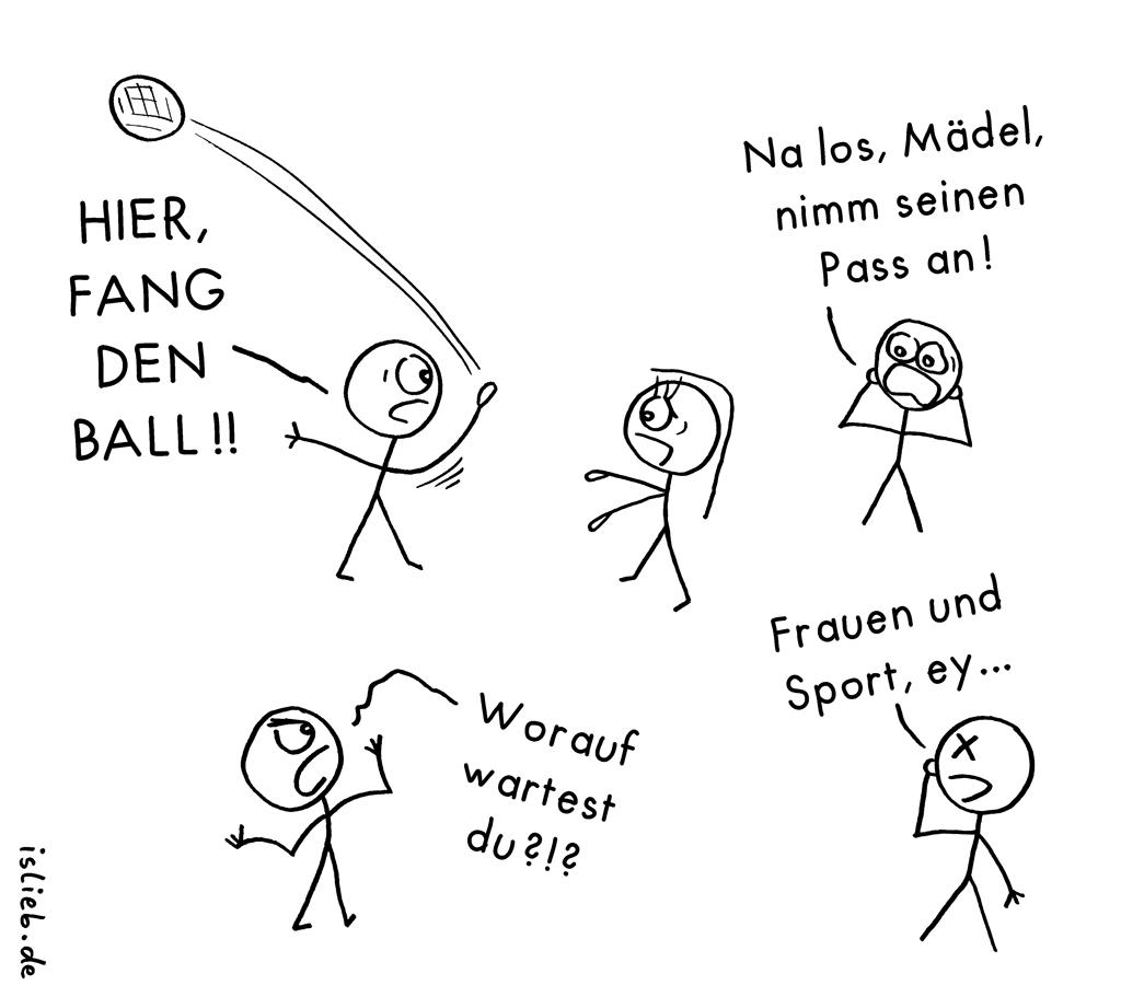 frauen und sport handball cartoon