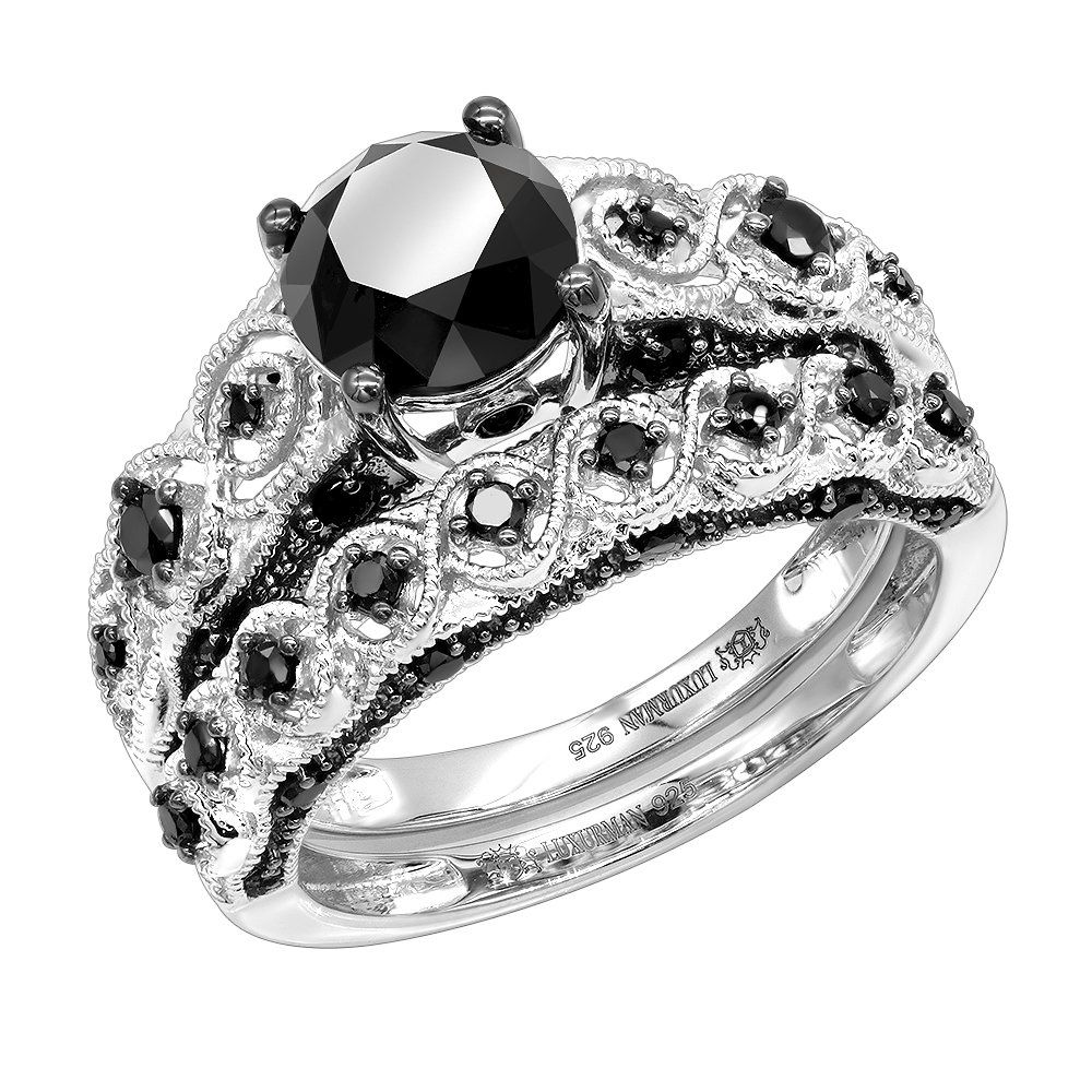 Sterling Silver Black Diamond Antique Engagement Ring Set 2.2ct By Luxurman