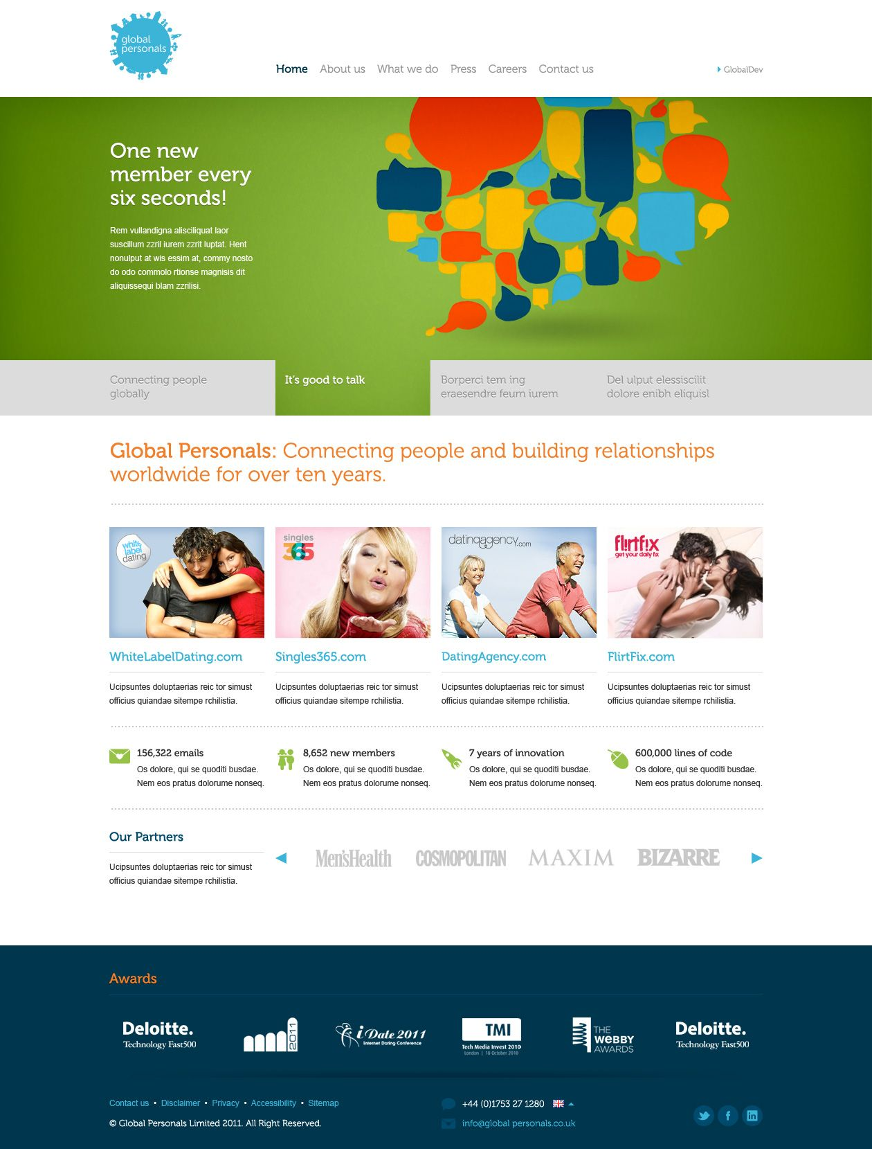 Global Personals site concept v2. Homepage. © Creative Jar.