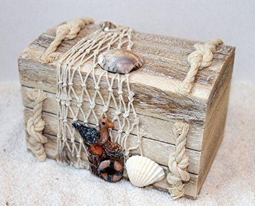Holz Truhe 14x9x10cm Serie: Treibholz maritim dekoriert mit Muscheln, Fischernetz, Möwe