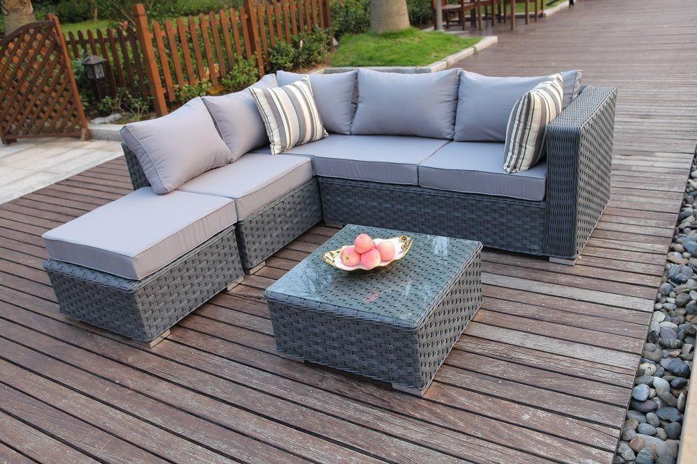 Rattan Garden Furniture Grey conservatory modular 5 seater rattan corner sofa set suite garden
