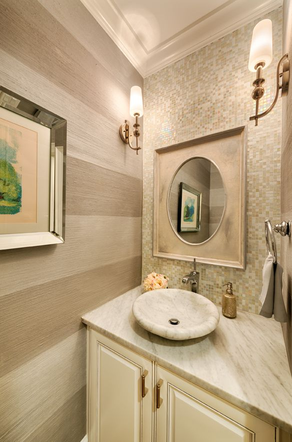 New powder room features faux finished walls and marble sink from ...