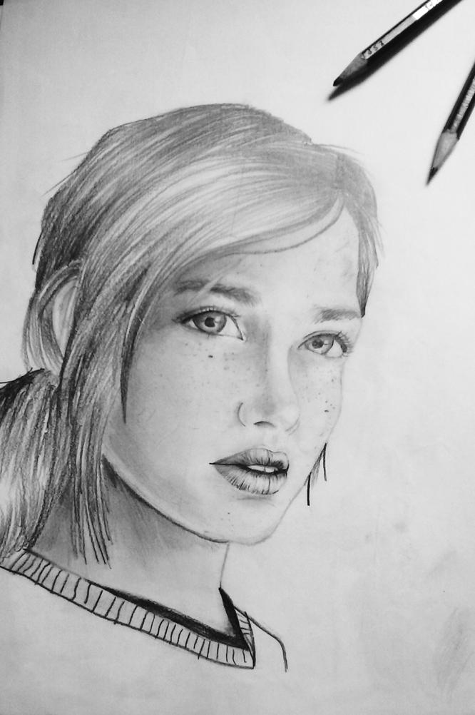Desenho Feito Com Lapis 6b Ellie De The Last Of Us Desenho