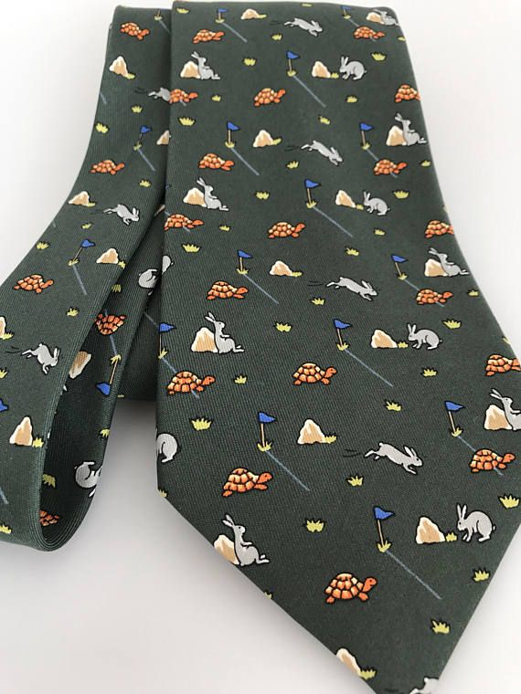 26e8ea63cb12 MINT Cond Vintage Hermes Tie 7797 FA Rabbit Turtle Tortoise ...