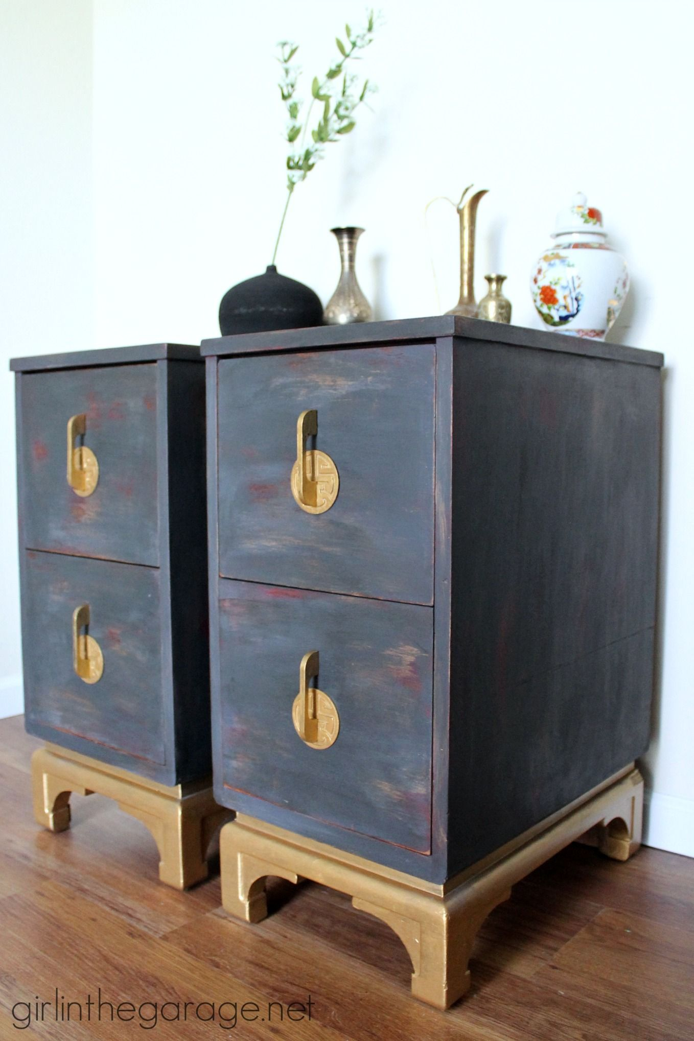 asian themed furniture. Antique Oriental Nightstands Get A Makeover With Chalk Paint And Metallic Gold Paint. Themed Furniture Asian