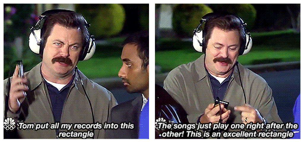Ron Swanson discovers the iPod Anecdotal Records, Guided Reading Groups,  Ron Swanson, Film