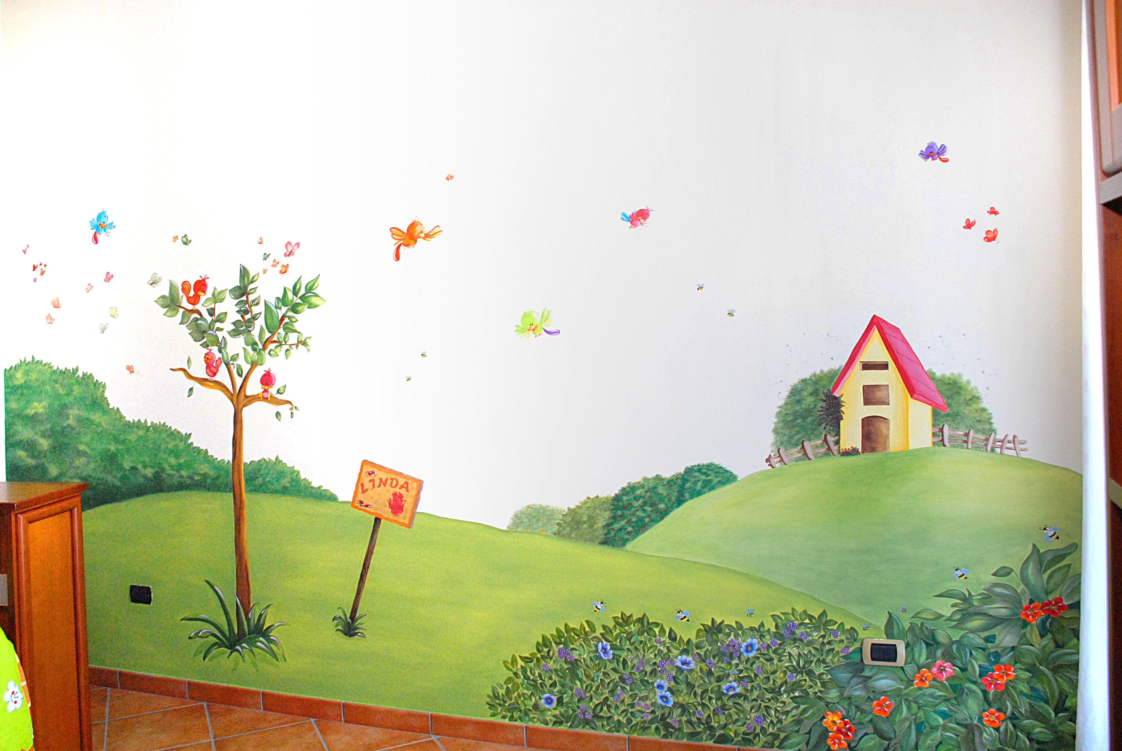 Murales Cameretta Bambini : Murales per camera bambini di mt h realizzato con colori