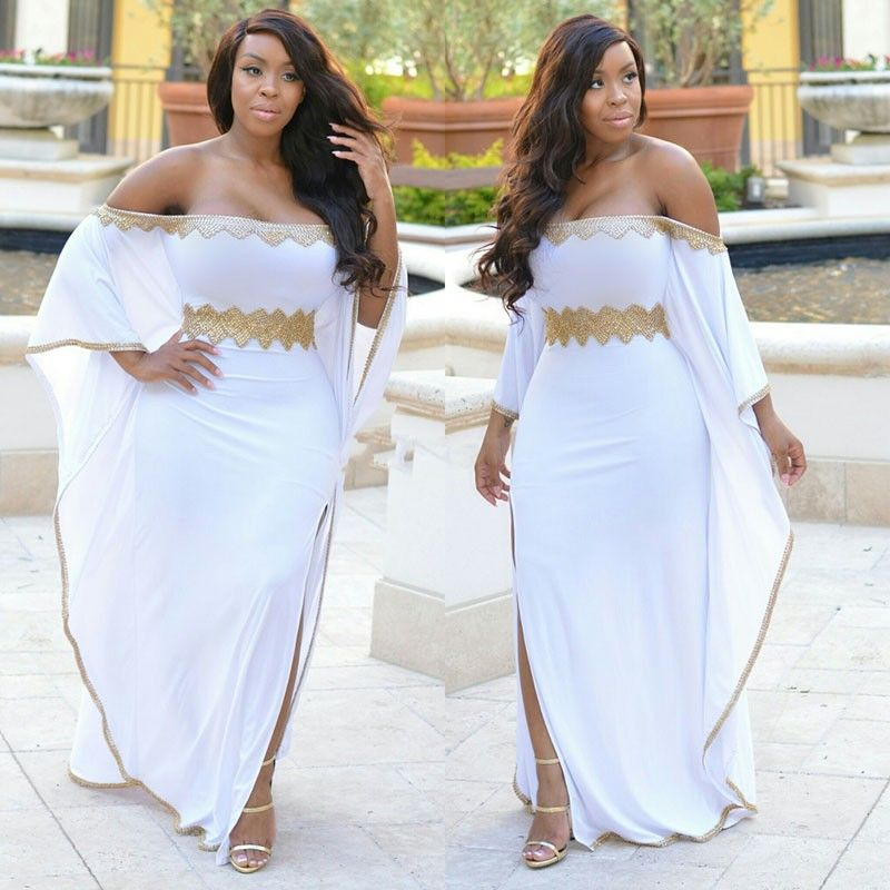 f4a5b066d00f Gold Beaded Plus Size African Prom Dresses Long Bat Sleeve Sexy Off The  Shoulder Thigh-