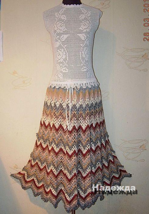 ZigZag Skirt free crochet graph pattern   häkeln Kleider, Röcke, etc ...