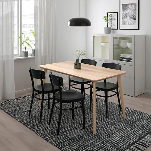 Lisabo Idolf Table And 4 Chairs Ash Veneer Black 55 1 8x30 3 4 Dining Table Black Wood Dining Table Table