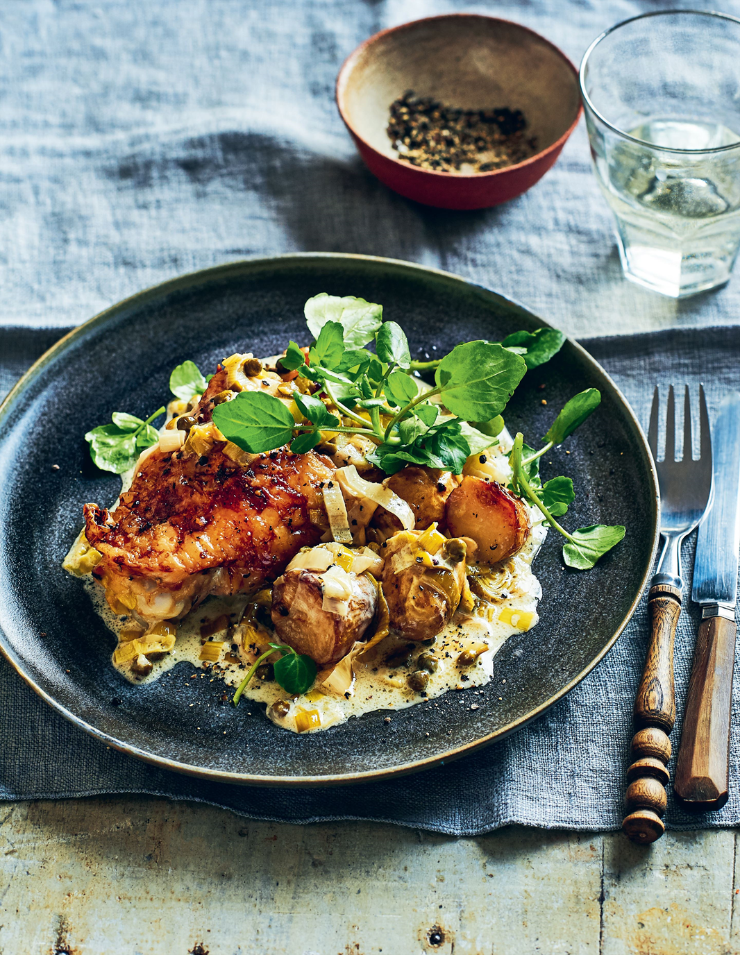 Chicken thighs with creamy leek and caper sauce | Recipe ...