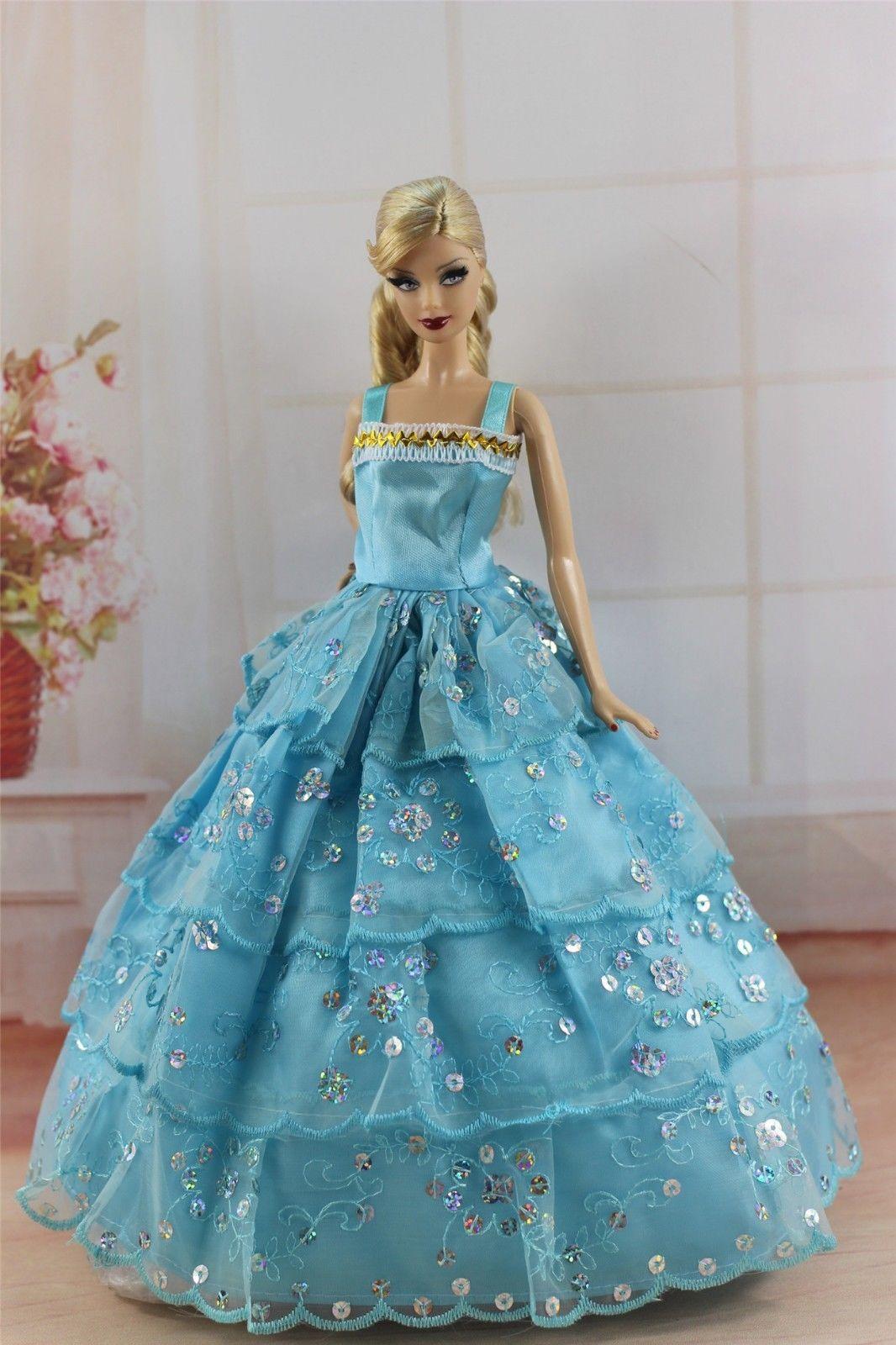 Blue Fashion Princess Dress Wedding Clothes/Gown For Barbie Doll ...