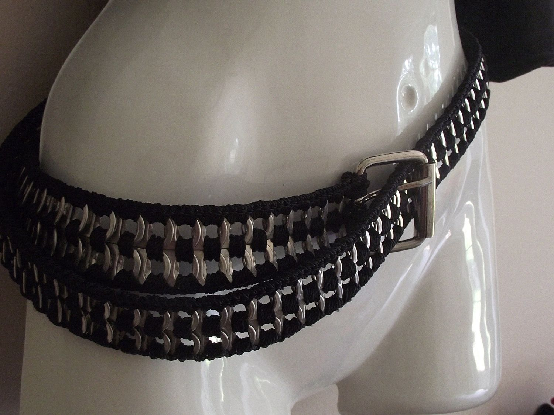 Biker Chic- Womens Crochet Pop Tab belt. $30.00, via Etsy.