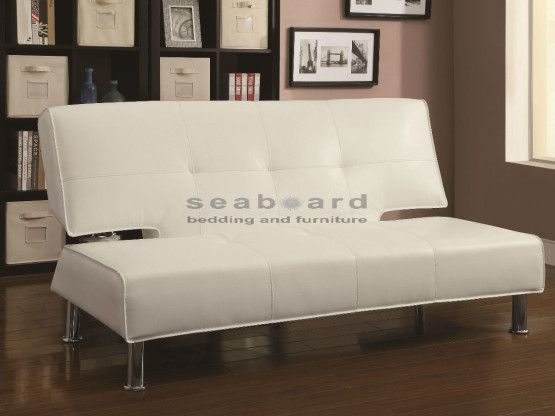 Coaster 300296 Futon Silky White Contemporary Style Contemporary Sofa Bed Leather Sofa Bed Black Leather Sofa Bed