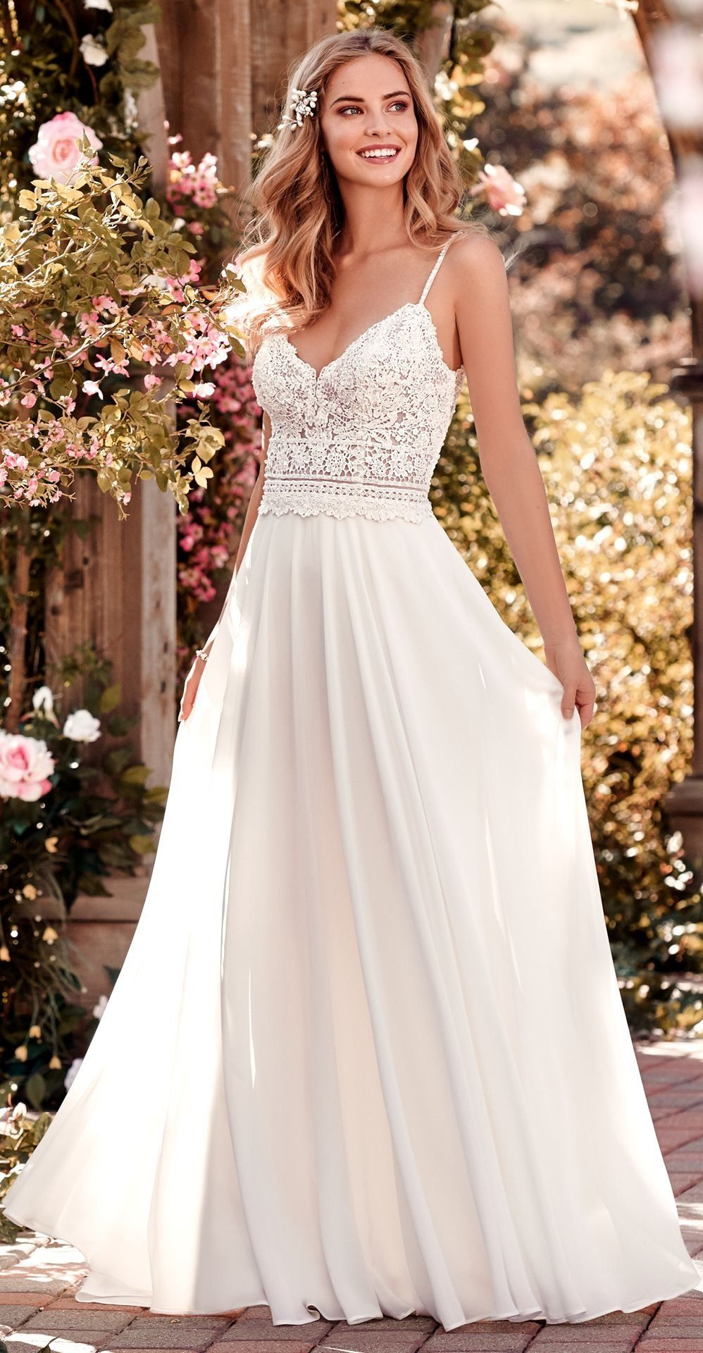 bfb1bf1931d0a Rebecca Ingram - JUNIPER, This chiffon boho-inspired wedding dress features  a sheer bodice accented in beaded lace.