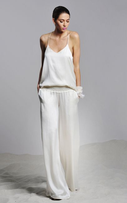 White wide legged pant and top by Alexis