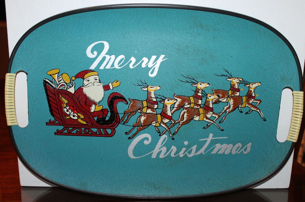 VINTAGE MERRY CHRISTMAS SERVING TRAY SANTA REINDEER TURQUOISE BLUE KITSCH CUTE!