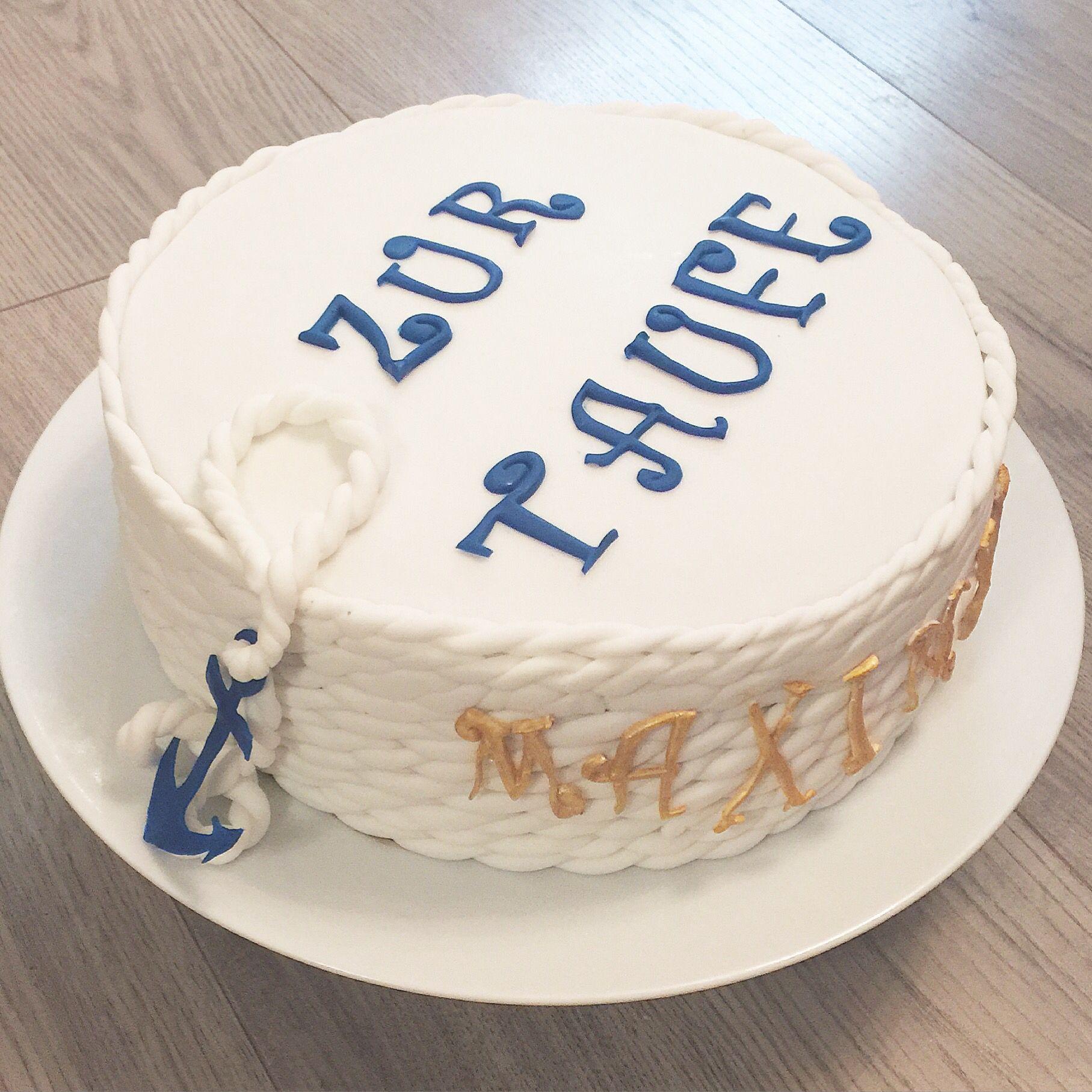 Torte maritim Taufe Tauftorte Christening Anker Fondant