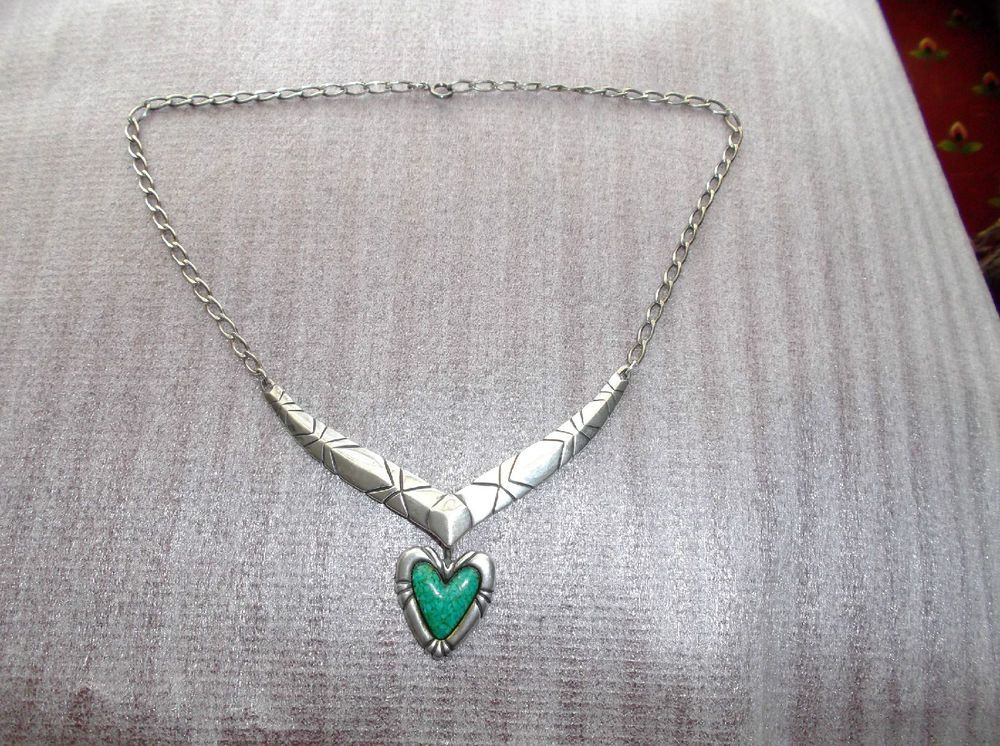 Carolyn Pollack Sterling Silver Amulet Necklace, Green Turquoise Heart Enhancer #CarolynPollack