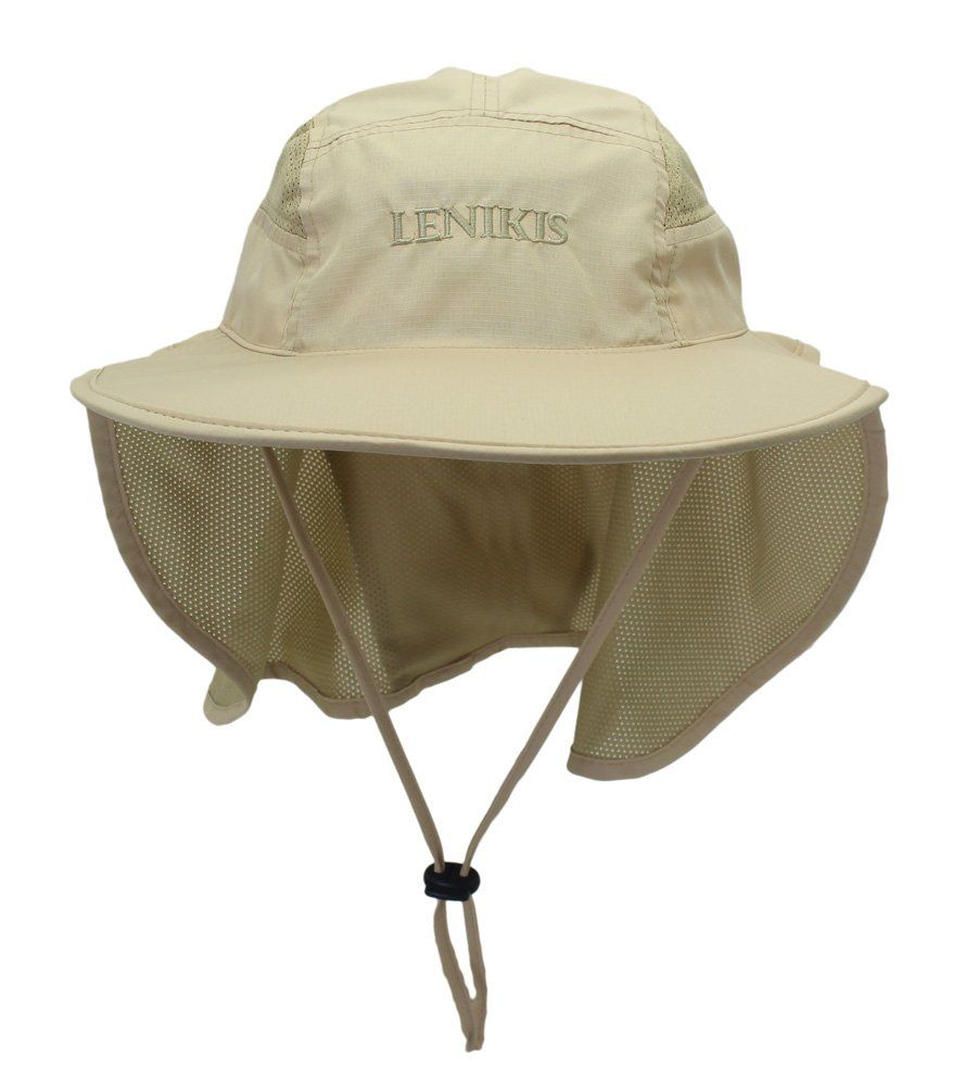3afb9ef62d4 Lenikis Unisex Outdoor Activities UV Protecting Sun Hats with Neck Flap  Khaki. Full Protection