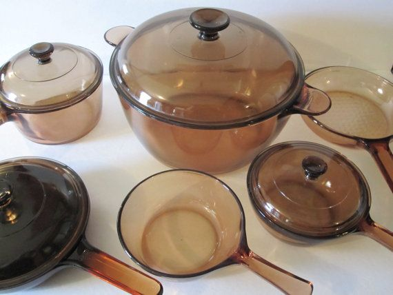 Vintage 11 Piece Vision Corningware Amber Cookware By