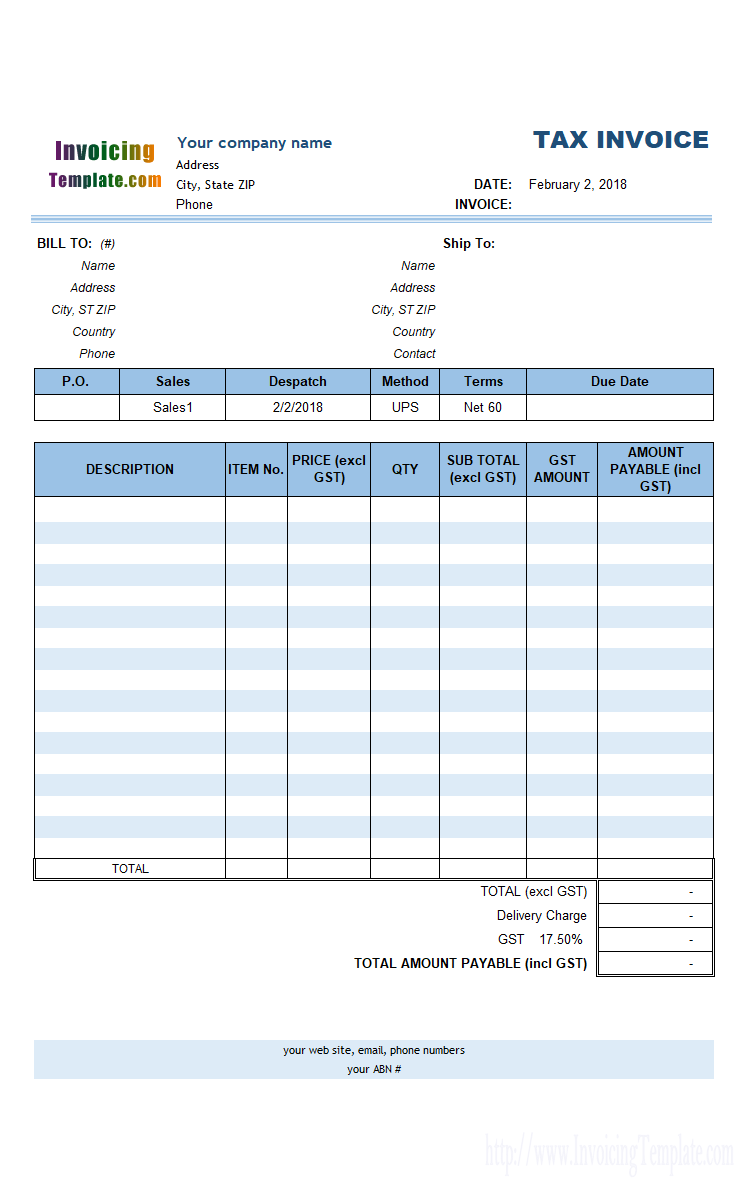 Quickbooks Wireless Invoicing Canadian Version Invoice Template Invoice Template Word Price List Template