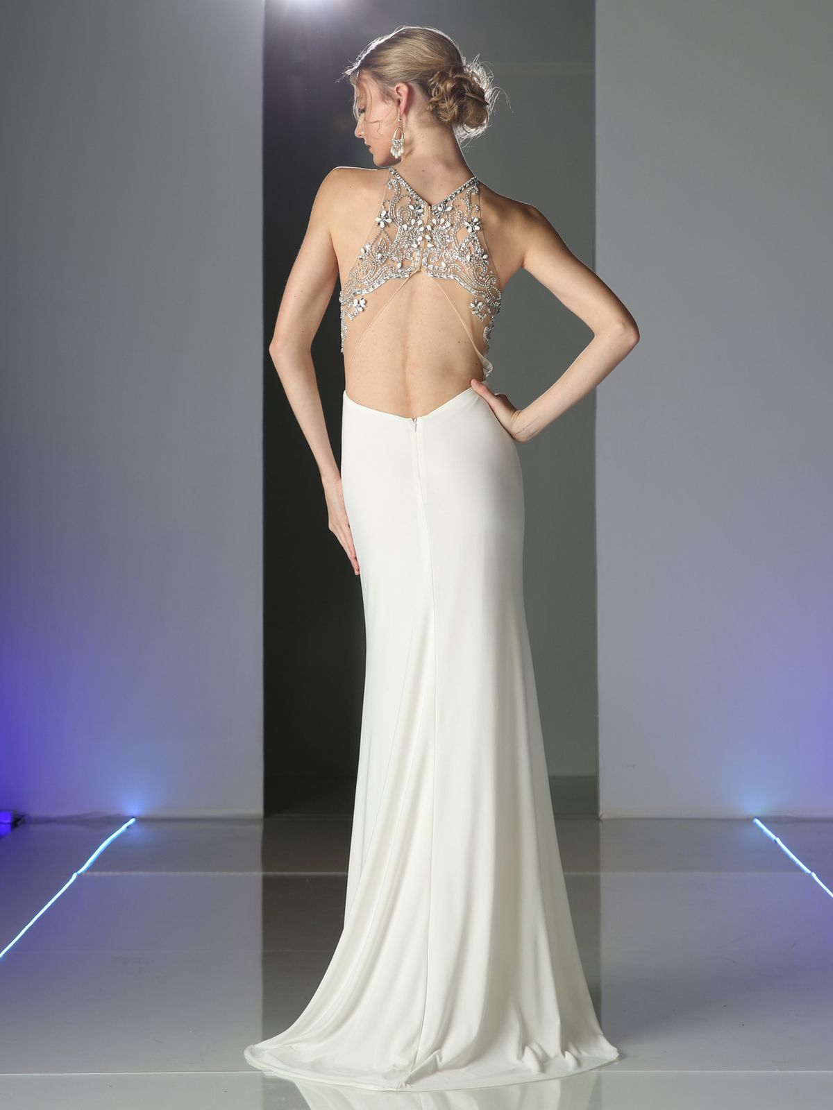 CD-PC911 Jeweled Strap Halter Top Evening Dress - Off White, Back ...