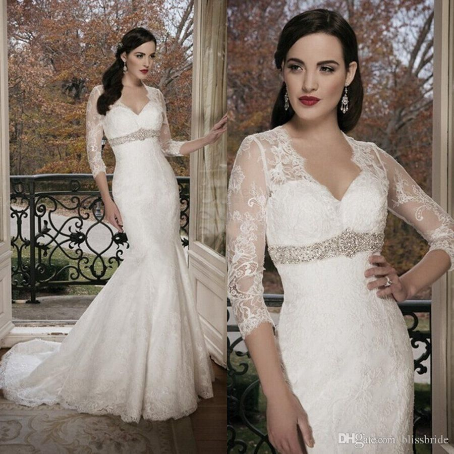 White lace wedding dress with sleeves  Real Photos Long Sleeves Wedding Dresses  Plus Size V Neck