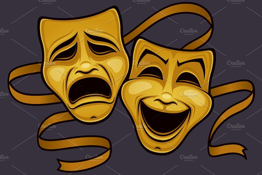 Gold Comedy And Tragedy Theater Mask Theatre Masks Comedy And Tragedy Drama Masks