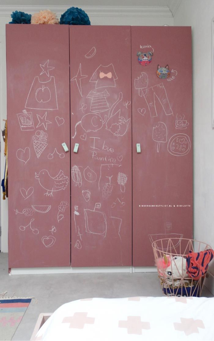 Kinderkamer Hoogslaper | Kinderkamerstylist | Blackboard Wardrobe | Chalk  Paint Kids Room Decor