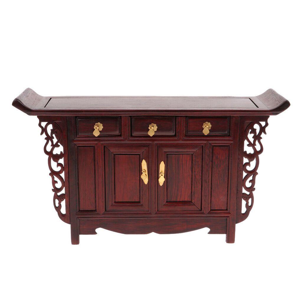 Vintage 1//6 Dollhouse Miniature Furniture Wooden Chinese Warp Cabinet Model