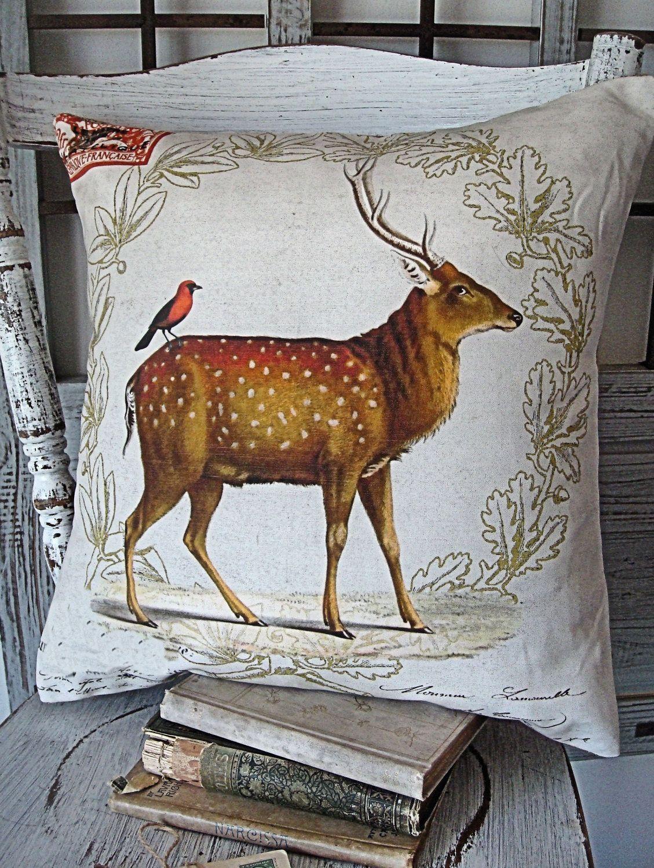 Cotton and Burlap Pillow Burlap Pillow Cover Holiday Woodland Deer. $35.00, via Etsy.