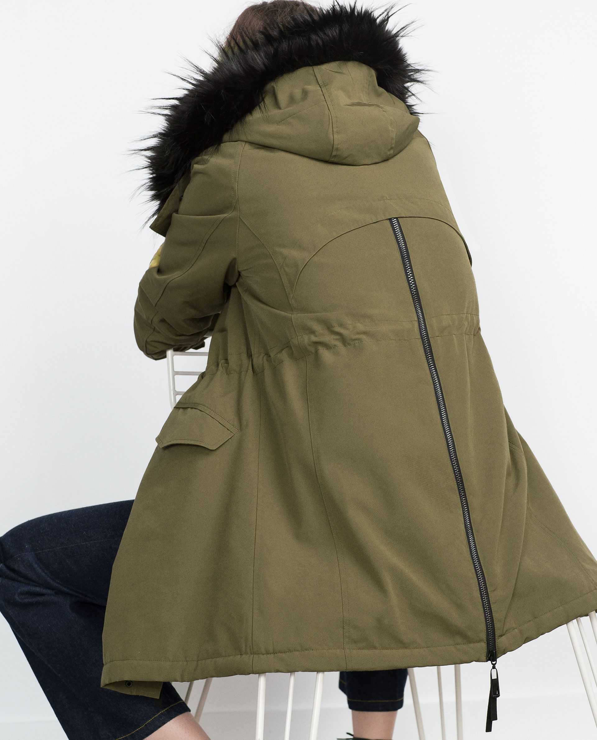 fleece lined parka view all woman new in zara. Black Bedroom Furniture Sets. Home Design Ideas