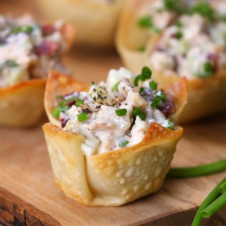Chicken Salad Bites With Cranberries And Walnuts