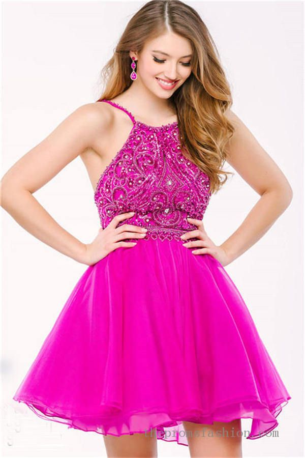 Bright Pink Beaded Halter Neck Short Two Piece Prom Dress OVNI40819 ...