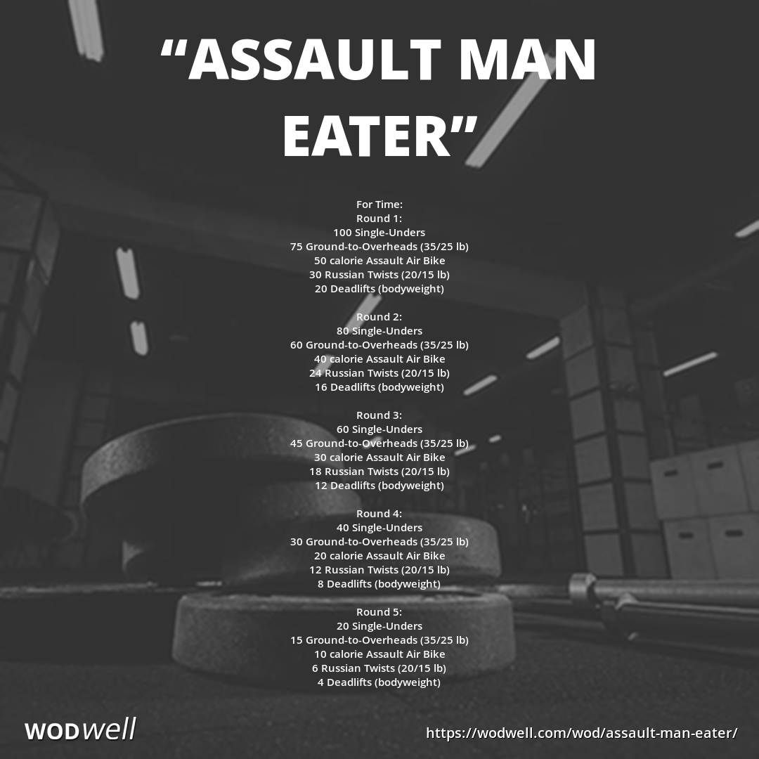 Assault Man Eater Wod Wod Workout Crossfit Workouts Wod Assault Bike Workout