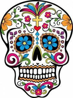 Día De Los Muertos En México Calavera Color Dibujo Típico Fiesta