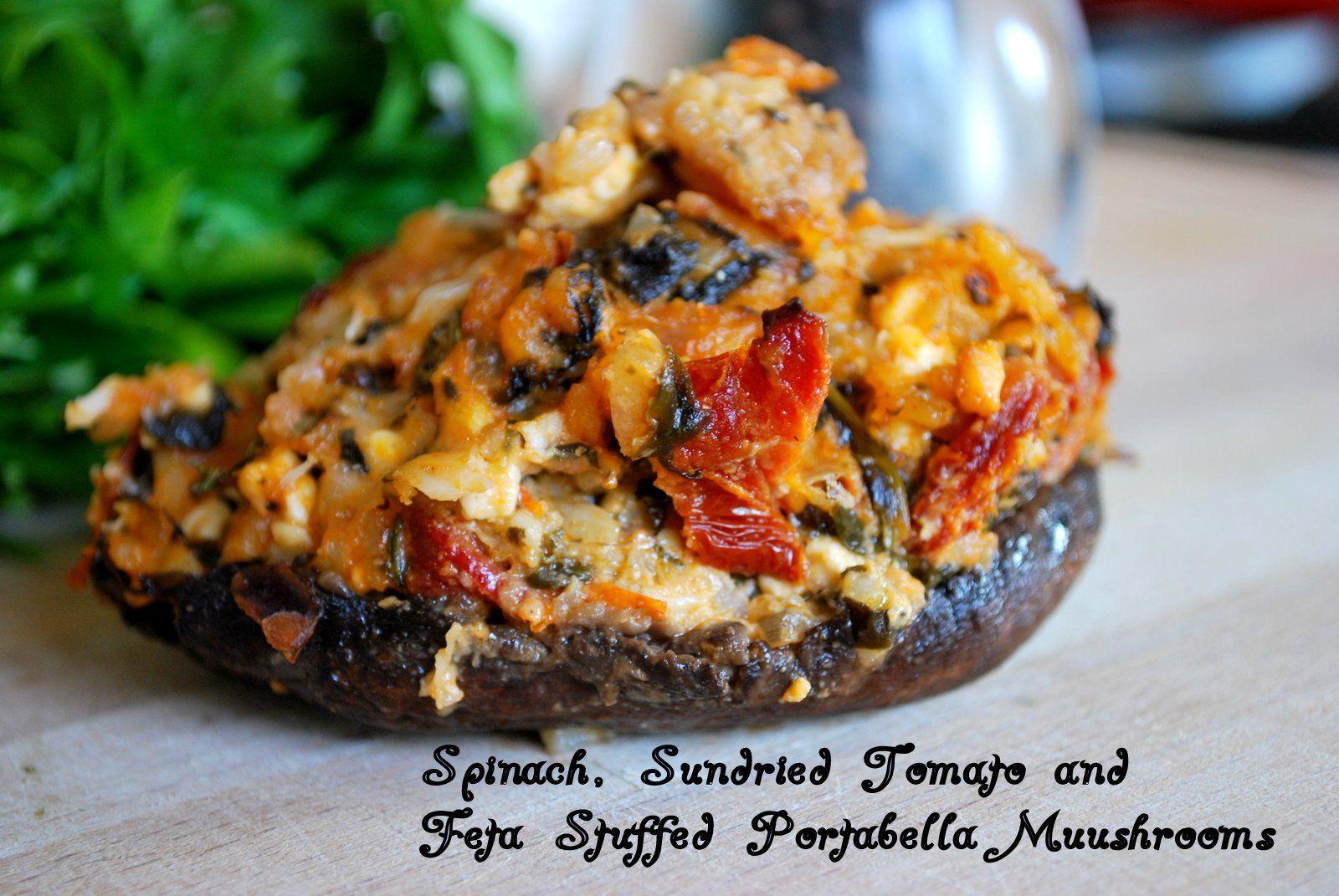 Stuffed Portabella Mushroom Caps Recipe Stuffed Mushrooms Feta Vegetable Dishes
