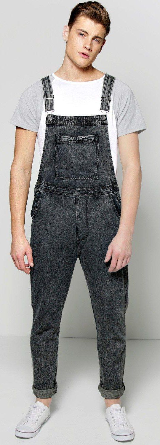 Full Length Acid Wash Dungarees - Jeans - Street Style, Fashion Looks And  Outfit Ideas