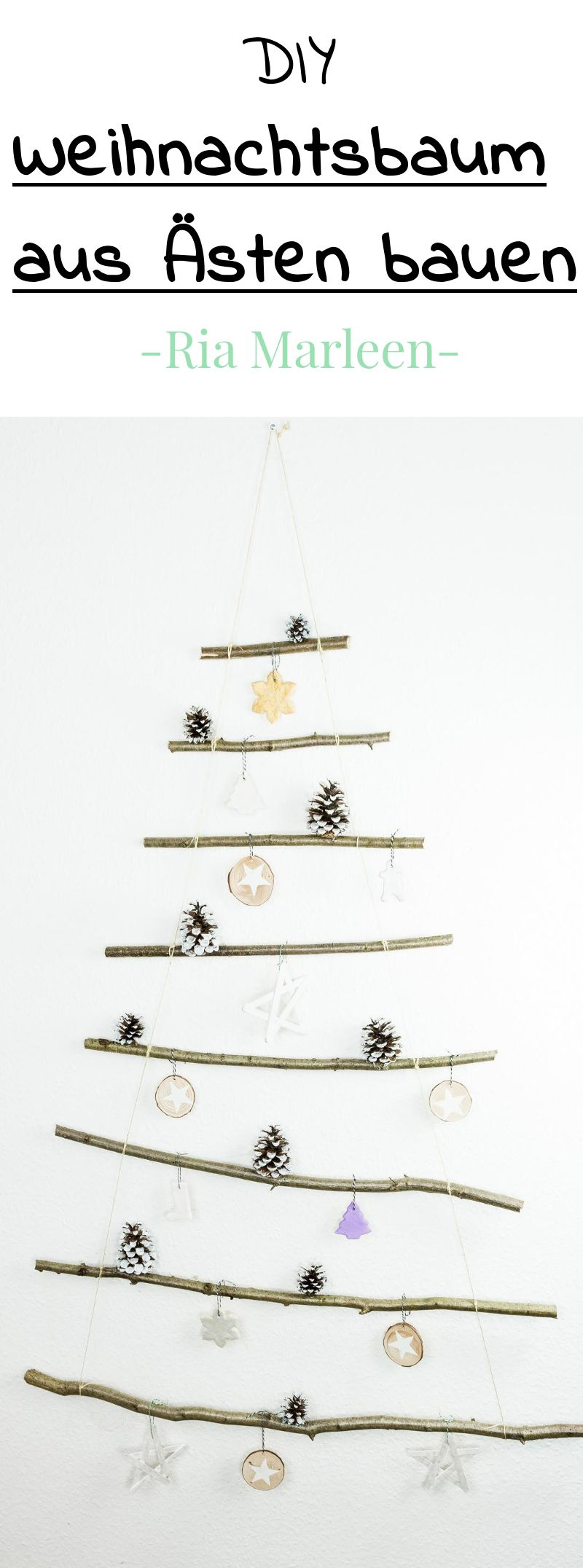 DIY Weihnachtsbaum aus Ästen basteln - einfach und günstig #weihnachtenbastelnmitkindern