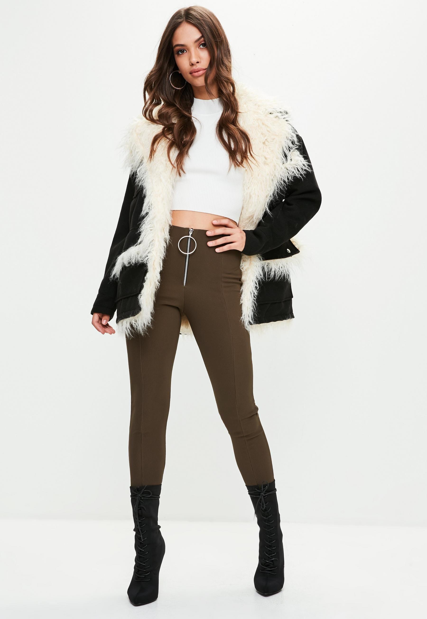 d45b1b7fe81f5 Black Mongolian Faux Fur Lining Coat | Missguided | Winter Coats ...