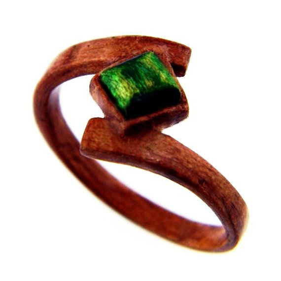 Hand Carved Wooden Emerald Ring, Wood Ring, Wood Jewelry