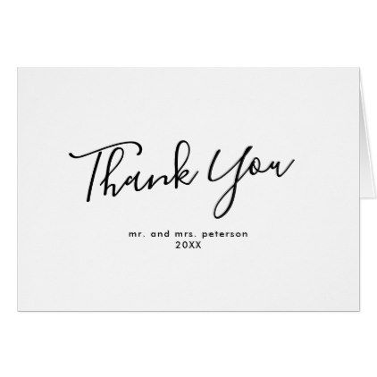 Minimalist Script Photo Wedding Thank You Card  Script Gifts